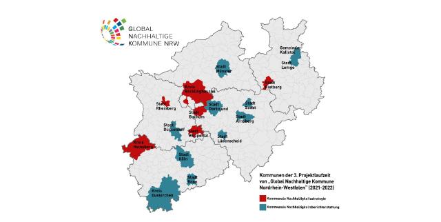 """Eine Übersichtskarte der 11 Modellkommunen im Projekt """"Global Nachhaltige Kommune NRW"""""""